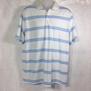 Nike golf polo XL White with baby blue stripes